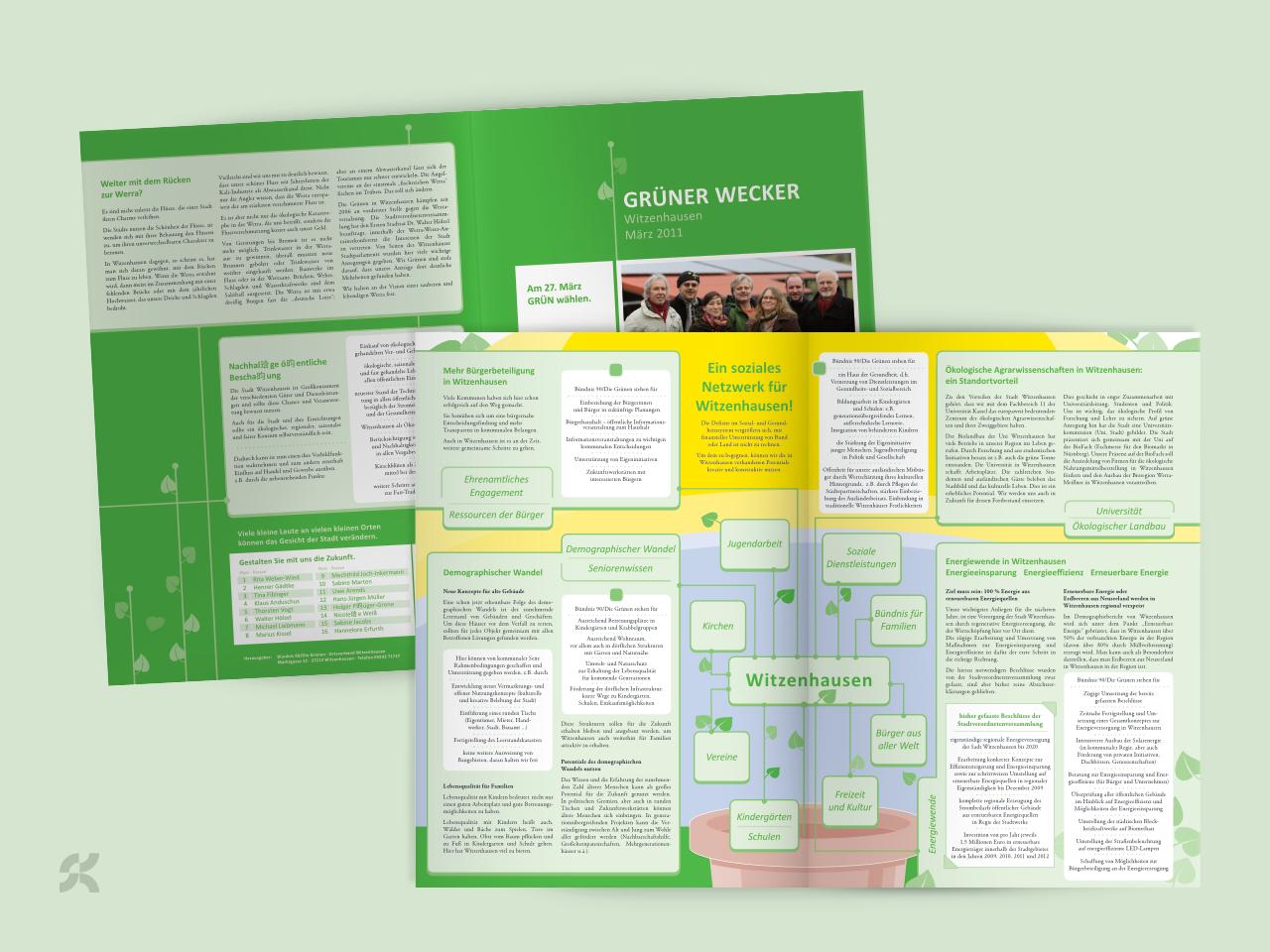 Information zur Wahl in Witzenhausen, Außen- und Innendarstellung des Flyers